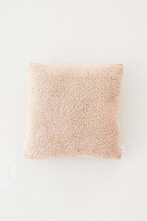 Sherpa Blush Fleece Throw Pillow