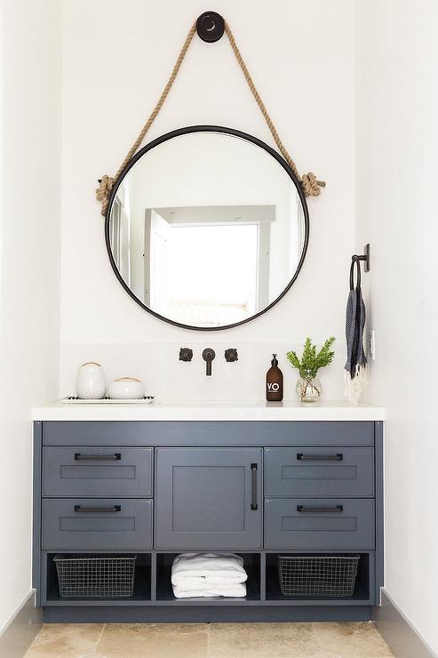 Blue Bath Vanity With Bronze Pulls Cottage Bathroom