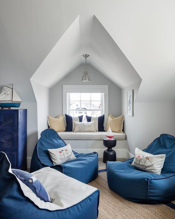 Navy Blue Lounge Chairs In Attic Boys Room