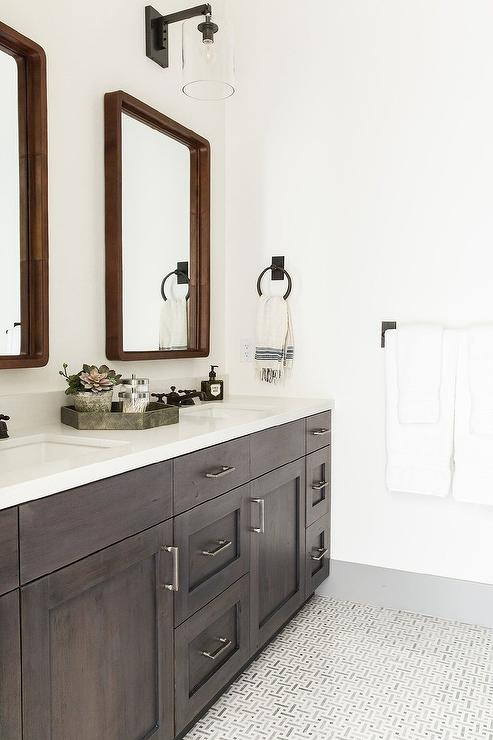 Espresso Stained Dual Bath Vanity with Vintage Bronze Faucets ...