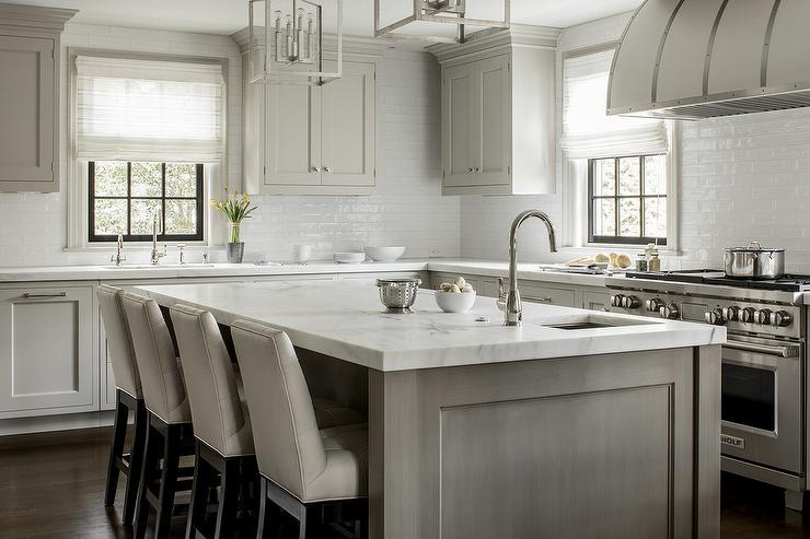 White Barrel Kitchen Hood Transitional Kitchen - Light gray stained cabinets