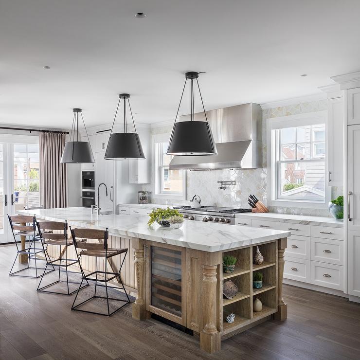 White Oak Kitchen: White Kitchen With Calacutta Marble Subway Tiles That Go