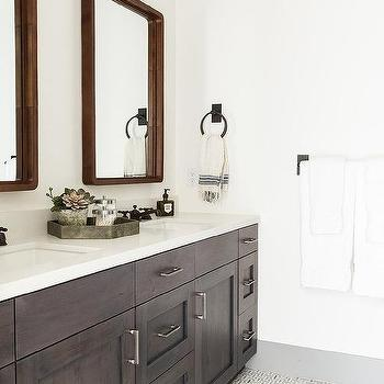 coffee stained dual washstand with carrera marble. Black Bedroom Furniture Sets. Home Design Ideas