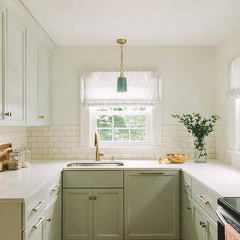 appealing light green shaker kitchen | Brass Gooseneck Kitchen Faucet Design Ideas