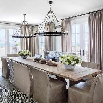 Delicieux Light Salvaged Wood Trestle Dining Table With Rope And Iron Ring Chandeliers