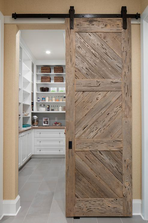 Pecky Cypress Barn Door On Rails Cottage Kitchen