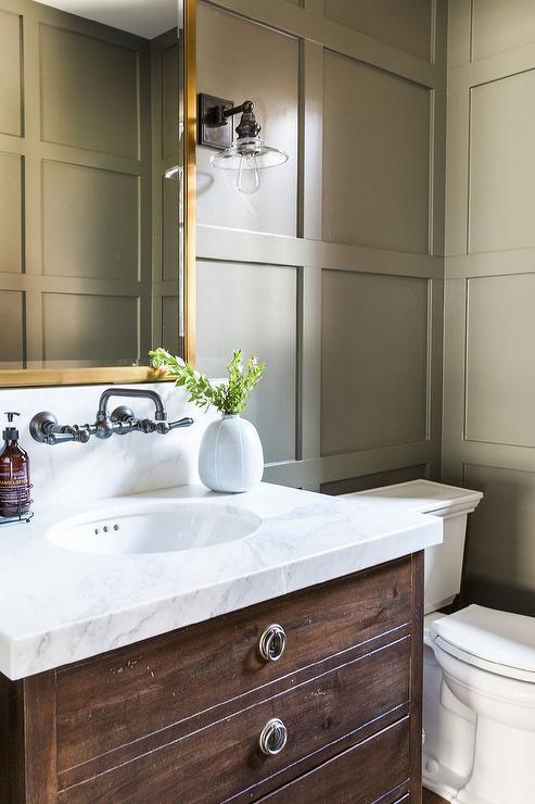 Antique Coffee Bath Vanity with Gold Mirror - Cottage - Bathroom