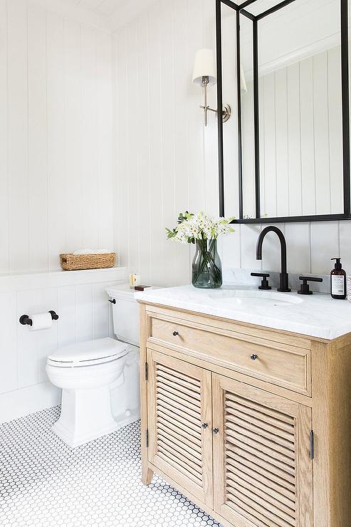 oak shutter bath vanity with marble top