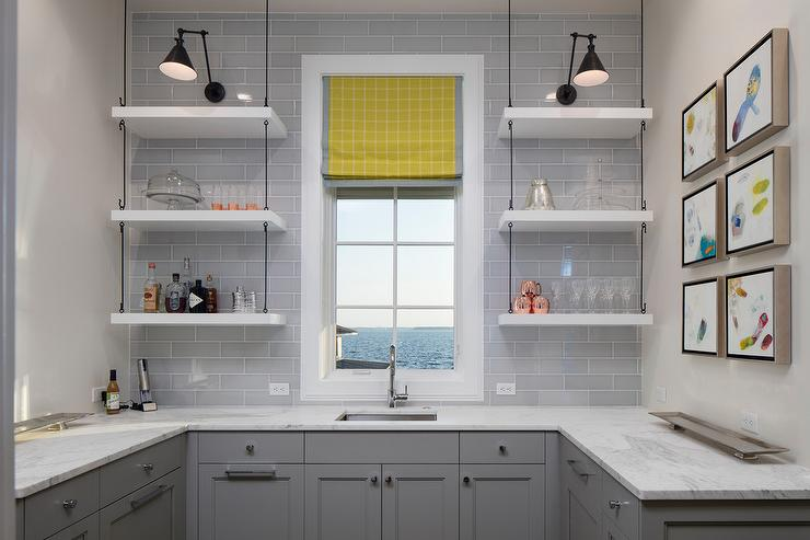 Gray Butler Pantry With Hanging Shelves