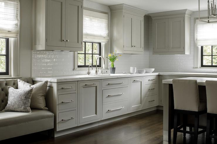 Light Gray Shaker Cabinets With Long Nickel Pulls Transitional - Light gray shaker cabinets