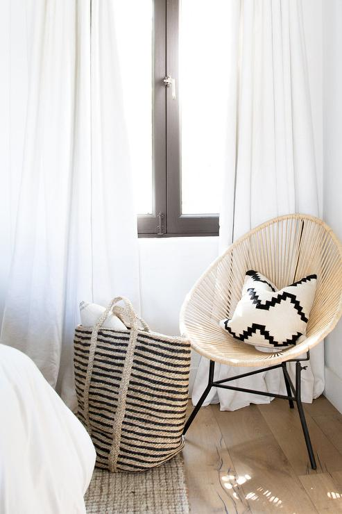 Rattan Pod Chair with Black and White Pillow - Transitional ...