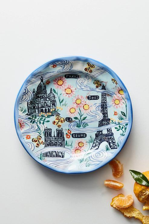 & Francophile Blue French Dinner Plate