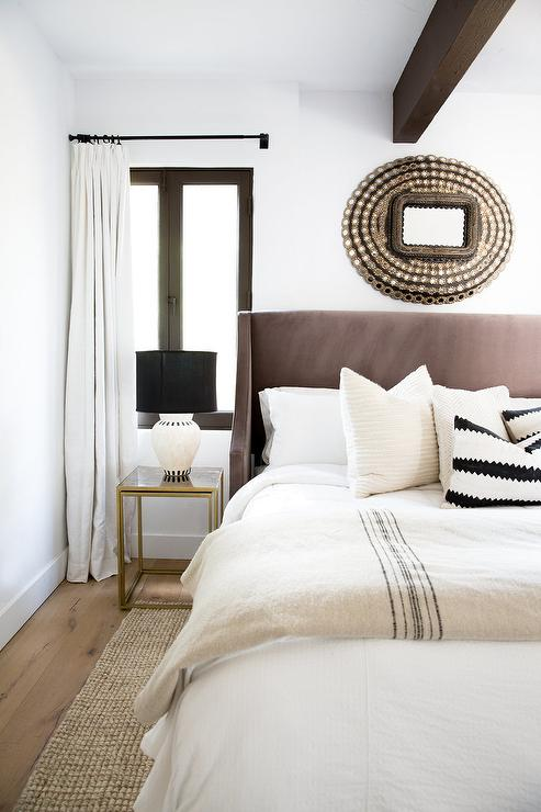 Brown Headboard Transitional Bedroom Elsa Soyars