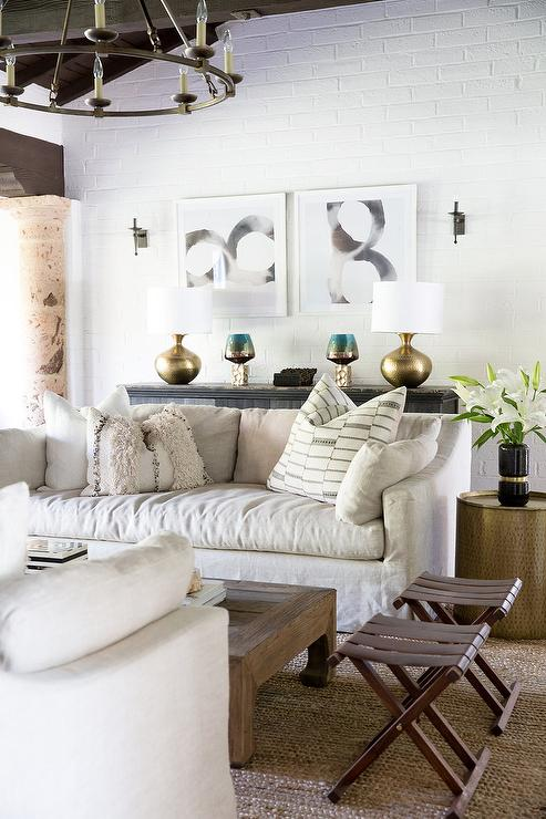 Ivory Linen Slipcovered Sofa with Hammered Gold End Tables ...