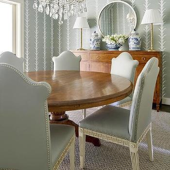 Green Dining Room With Greek Key Chairs