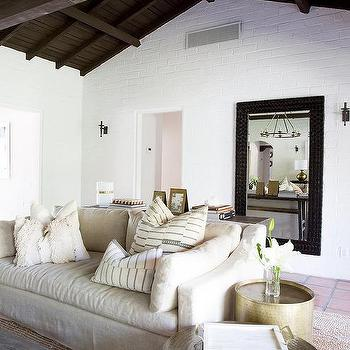 brick living room furniture. Dark Stained Truss Ceiling With White Painted Exposed Brick Walls Living Room Furniture