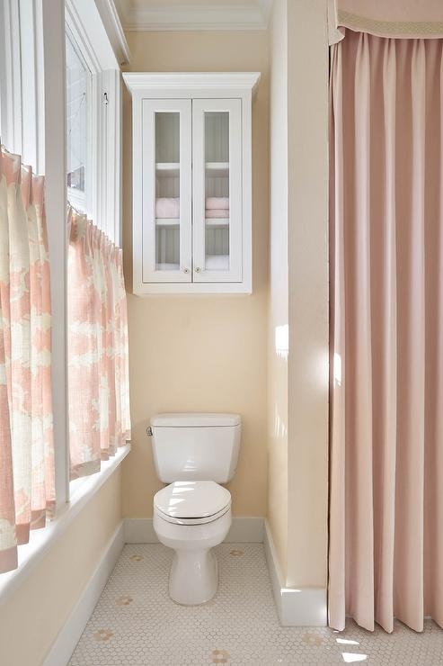 pink girl bathroom with pink cafe curtains - traditional - bathroom
