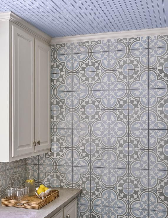 Gray and purple kitchen cement tiles transitional kitchen for Cement tiles for kitchen