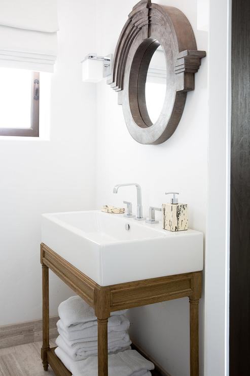 Weathered Oak Vanity With Mansard, Weathered Oak Bathroom Vanity Mirror
