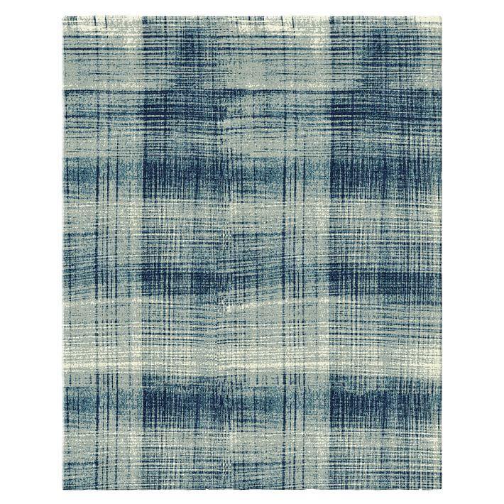Abrash Blue Faded Plaid Rug