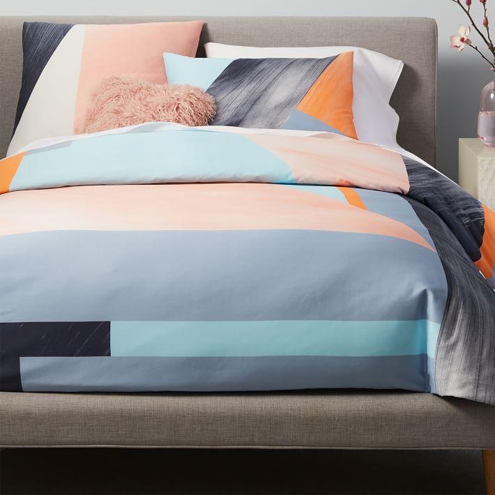 Sateen Brushed Blush Orange Blue Bedding - Geometrical-shapes-on-bedding