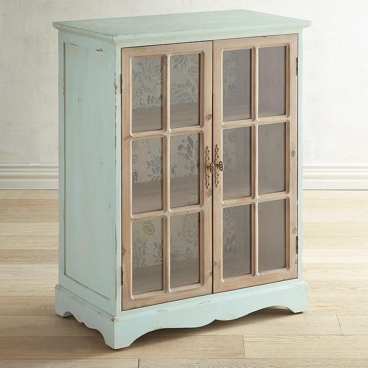 Flora 2 Door Blue Wood Glass Cabinet