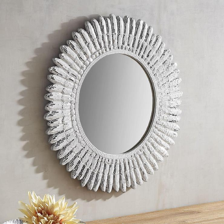 Well-liked Round Angel Mosaic White Mirror XS03