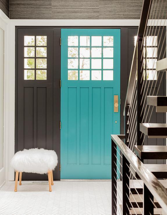 Bright Blue Front Door Contemporary Entrance Foyer