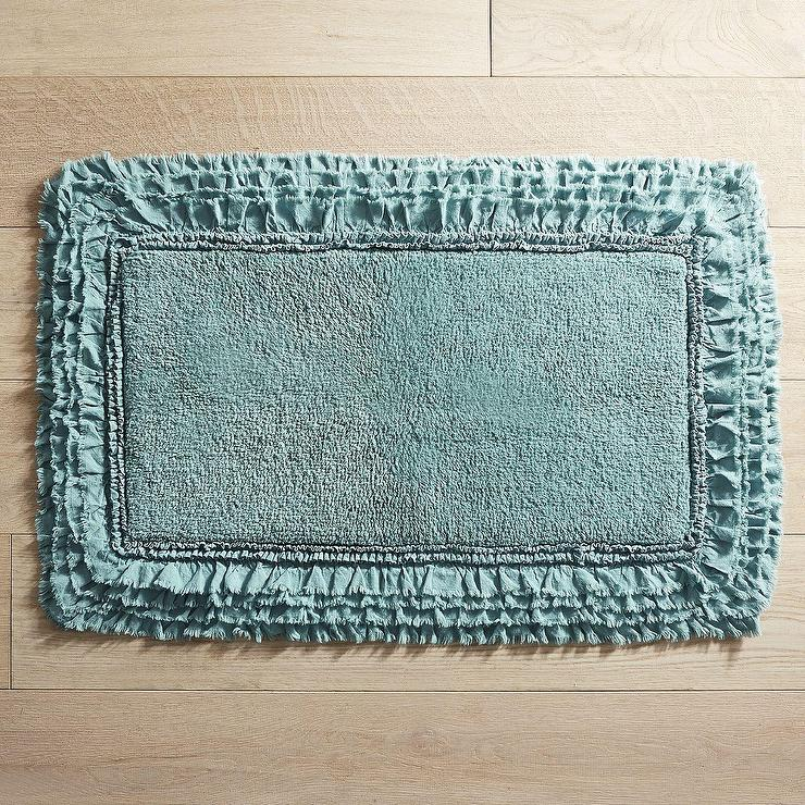 Ruffled Borders Blue Bath Rug Products Bookmarks Design