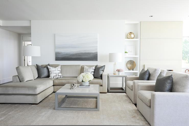 Light Taupe Sofa With Steel Gray Pillows Transitional
