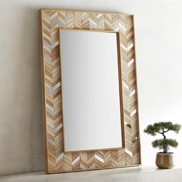 Dorea Chevron Wood Frame Mirror