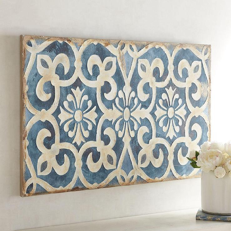 Geometric Indigo Tile Wall Art