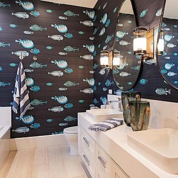 Blue Fish Pattern Textured Bathroom Wallpaper