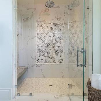 Gray Diamond Pattern Inset Shower Tiles Transitional