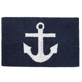 Anchor Jacquard Blue And White Towel