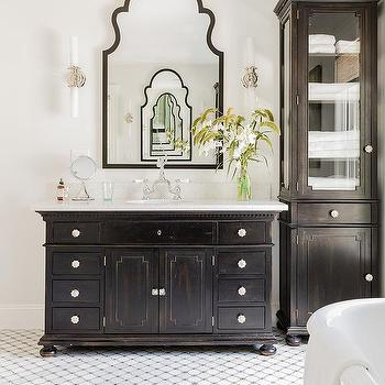Captivating Antiqued Black Bath Vanity With Gray Mosaic Tiles