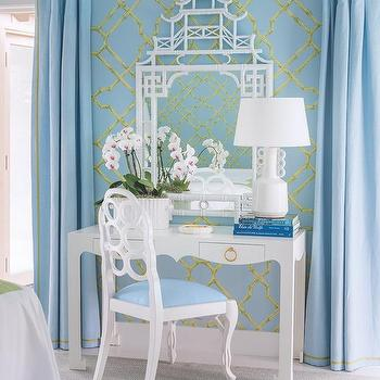 Coastal Living · Blue Chinoiserie Bedroom With White Bamboo Pagoda Mirror