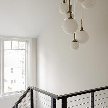 Sculptural Black Glass Globe 7 Light Chandelier
