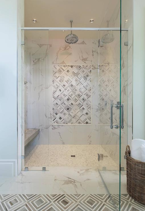 Gray Marble Diamond Shower Accent Tiles