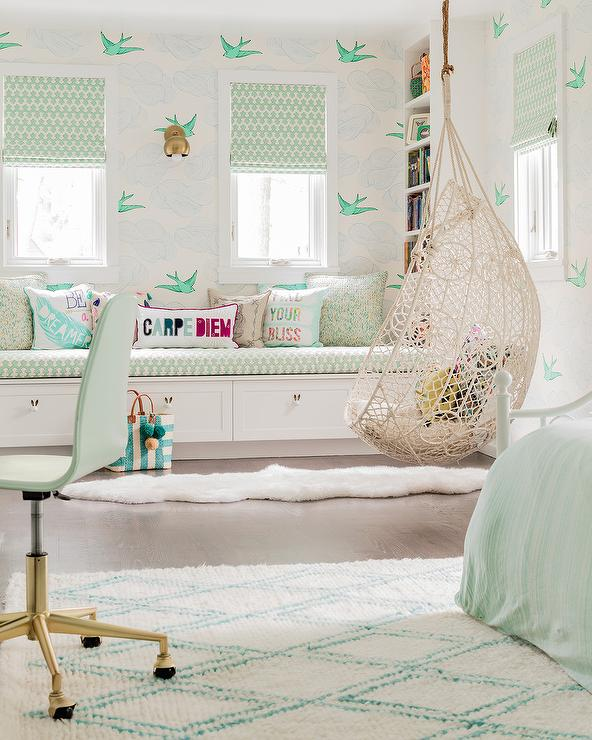 Mint Green Girl Room With Knotted Rope Hanging Chair