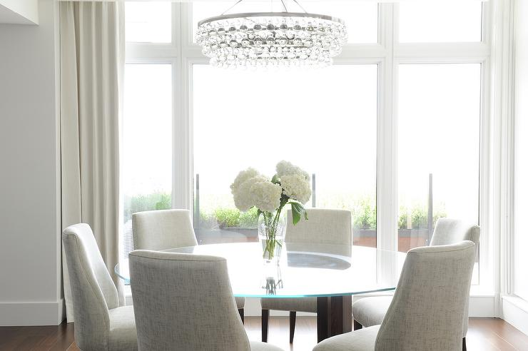 Oval Bling Chandelier With Oval Glass Top Dining Table Transitional Dining Room