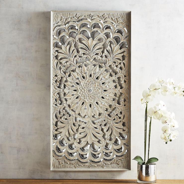 Rectangular Gray Carved Medallion Panel
