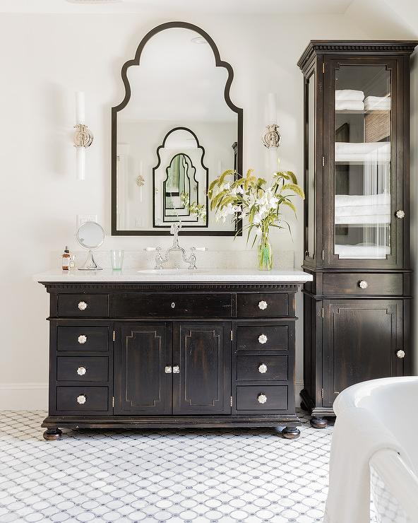 Antiqued Black Bath Vanity with Gray Mosaic Tiles - Antiqued Black Bath Vanity With Gray Mosaic Tiles - Transitional