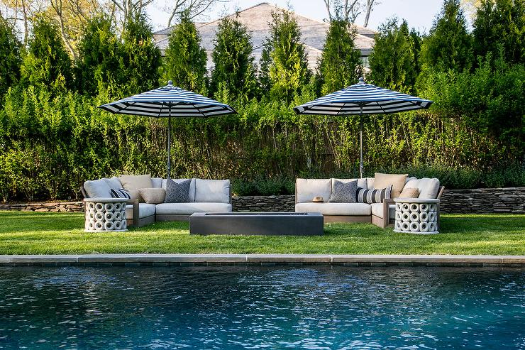 Weathered Teak Outdoor Sectional with Fibercast Concrete ...