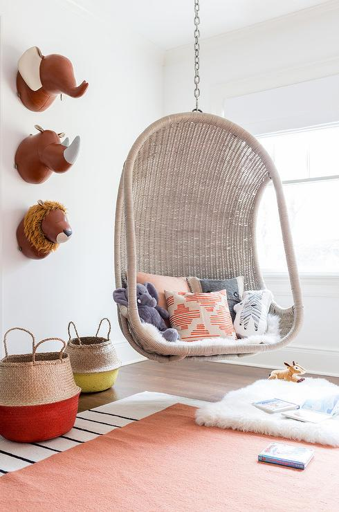 Gray Woven Hanging Chair With Faux Leather Animal Heads