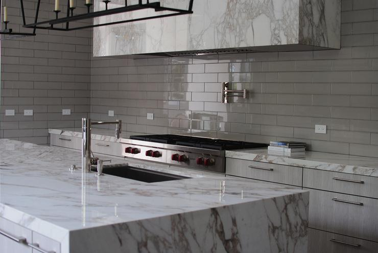 Glossy Gray Kitchen Backsplash Tiles with Marble Hood - Transitional on glossy kitchen table, glossy kitchen paint, glossy kitchen cabinets, glossy kitchen appliances, glossy metal,
