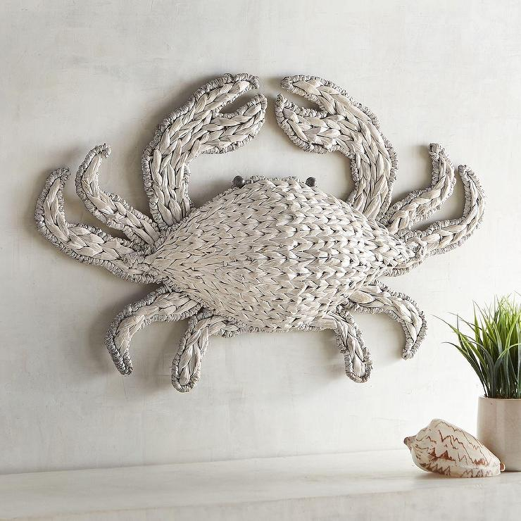 Unique White Woven Crab Wall Decor LH35