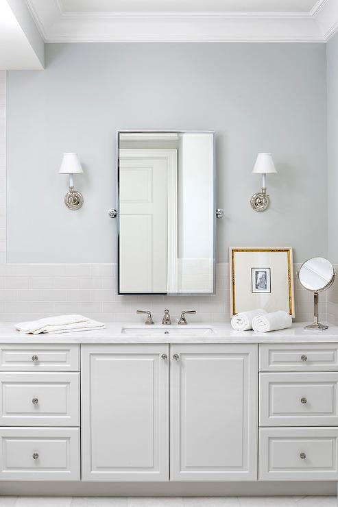 Light Gray Subway Tiles With White Bath Vanity