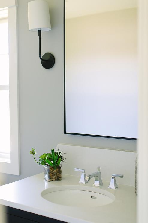 Black Wall With White Bath Vanity Design Ideas