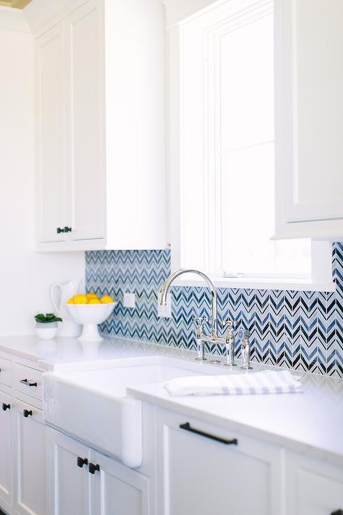Blue Chevron Backsplash Tiles With White Cabinets